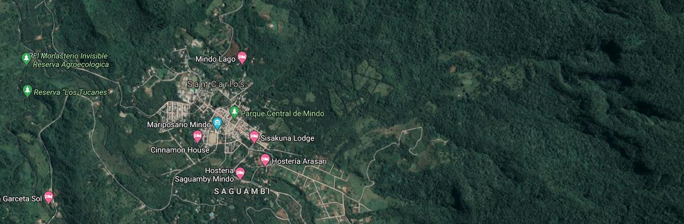Map of Mindo Ecuador